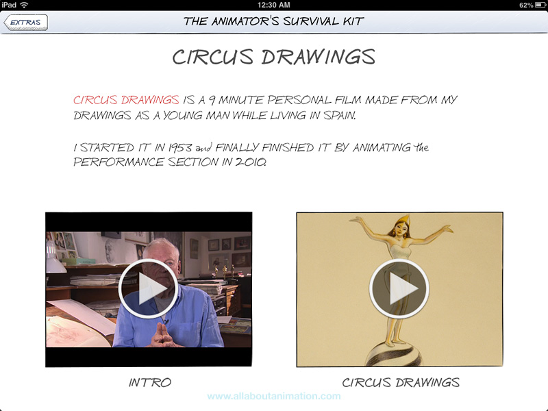 Richard Williams - The Animator's Survival Kit iPad App - Circus Drawings